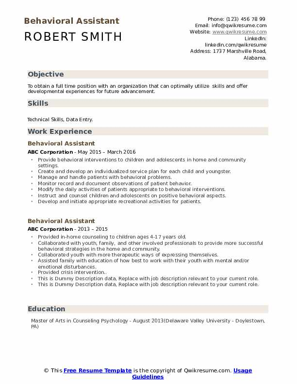 Behavioral Assistant Resume example