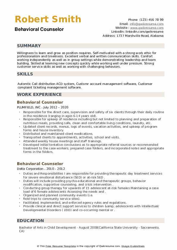 Behavioral Counselor Resume example