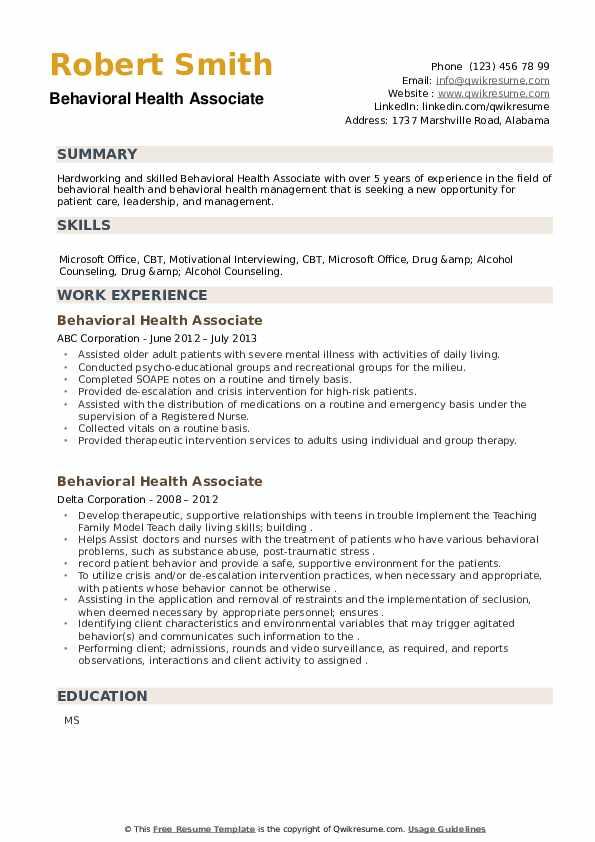 Behavioral Health Associate Resume example