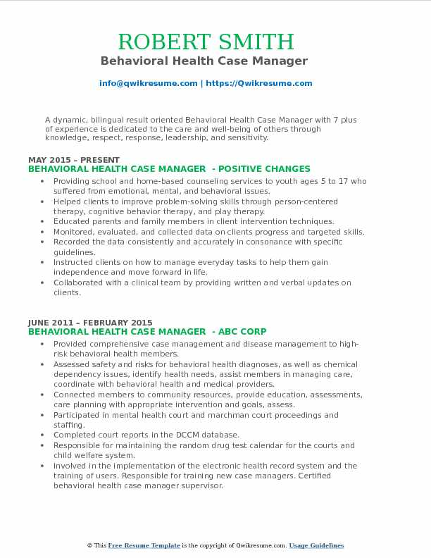 Behavioral Health Case Manager  Resume Format