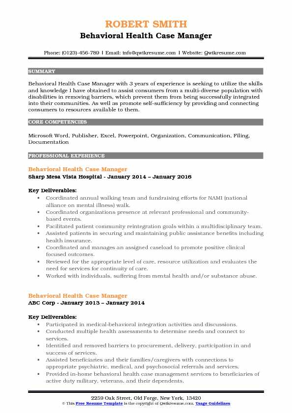 Behavioral Health Case Manager Resume Example
