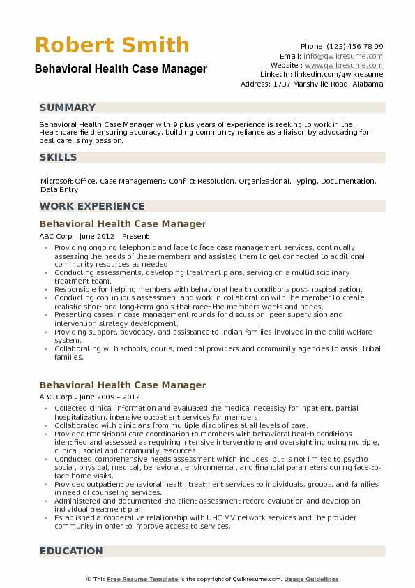 behavioral health case manager resume samples