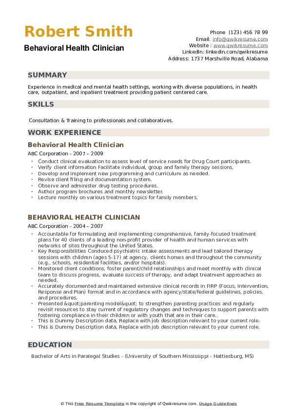 Behavioral Health Clinician Resume example