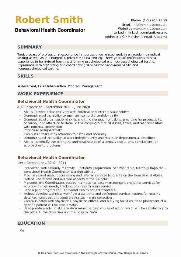 Behavioral Health Coordinator Resume example
