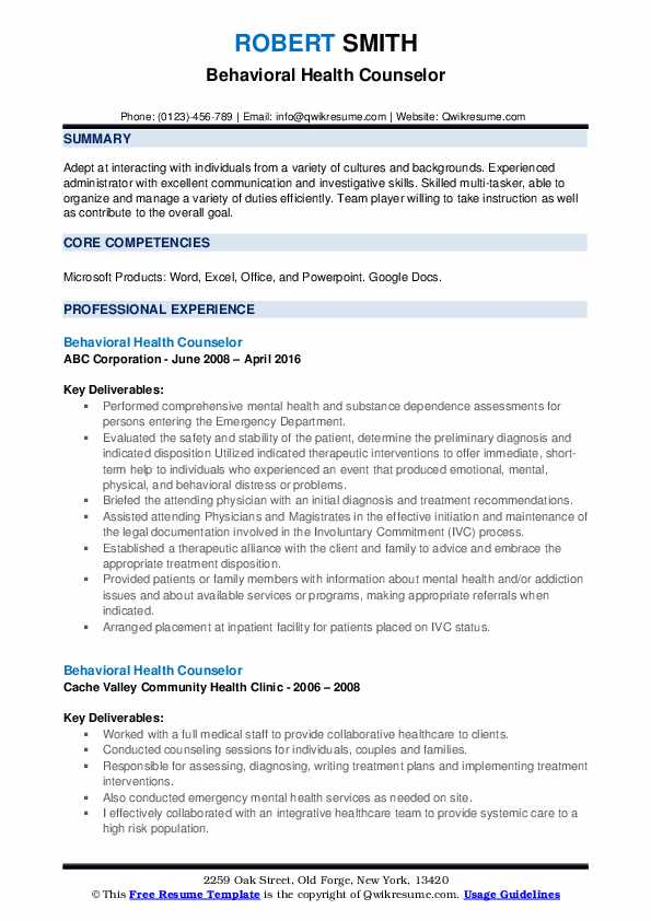 Behavioral Health Counselor Resume Template