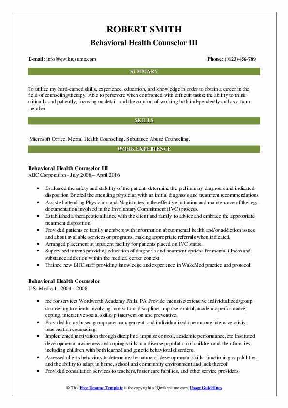 Behavioral Health Counselor III Resume Example