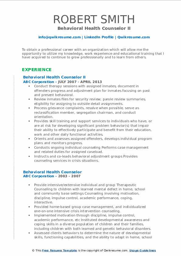 Behavioral Health Counselor II Resume Example