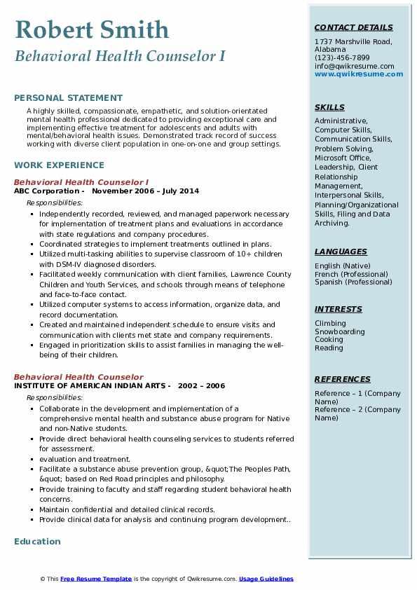 Behavioral Health Counselor I Resume Model
