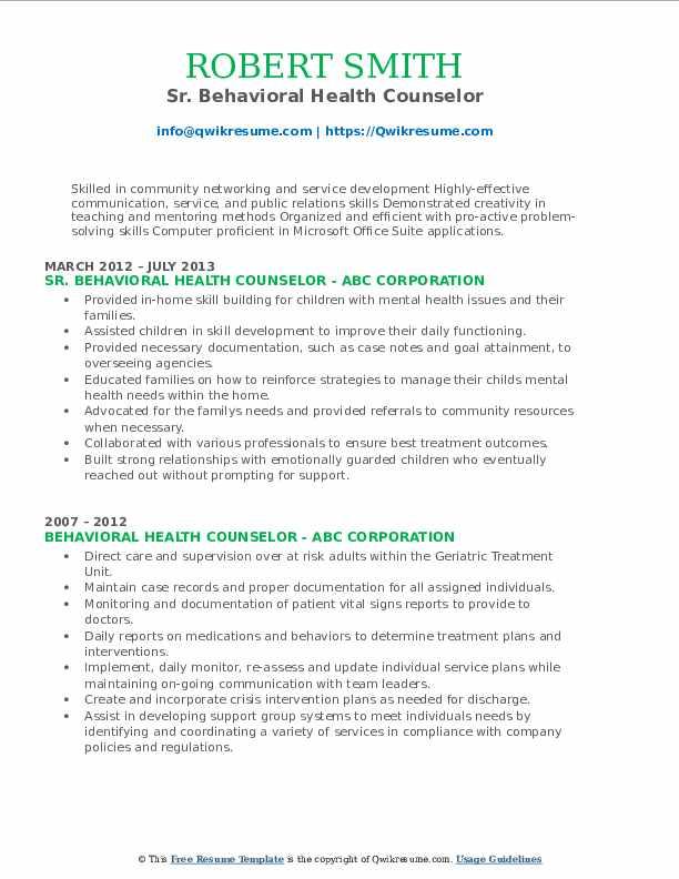 Sr. Behavioral Health Counselor Resume Format