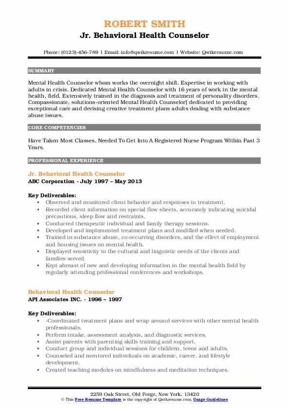 Jr. Behavioral Health Counselor Resume Model