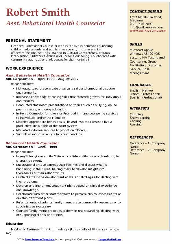 Asst. Behavioral Health Counselor Resume Sample