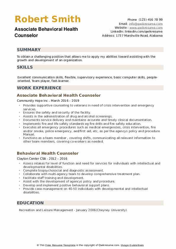 Associate Behavioral Health Counselor Resume Model