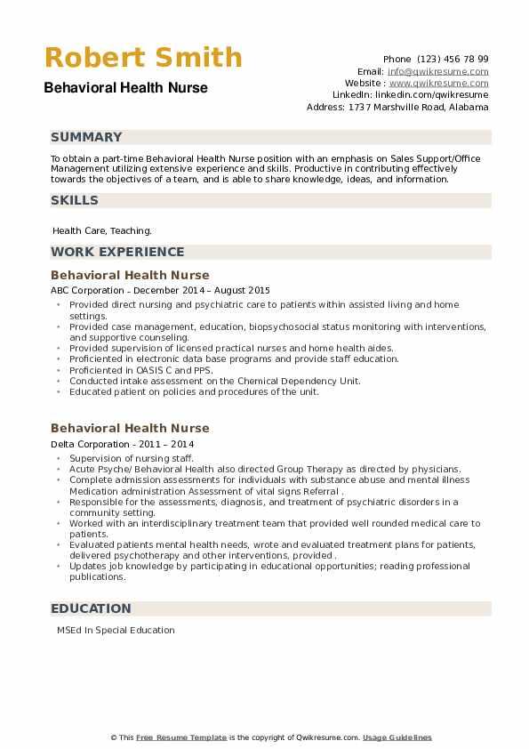 Behavioral Health Nurse Resume example