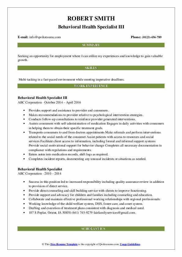 Behavioral Health Specialist III Resume Model