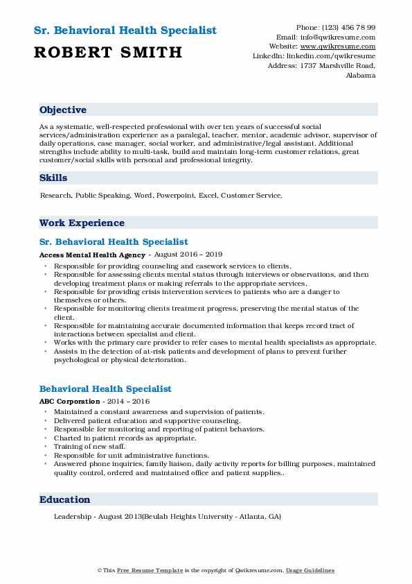 Sr. Behavioral Health Specialist Resume Model