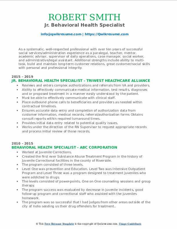 Jr. Behavioral Health Specialist Resume Sample