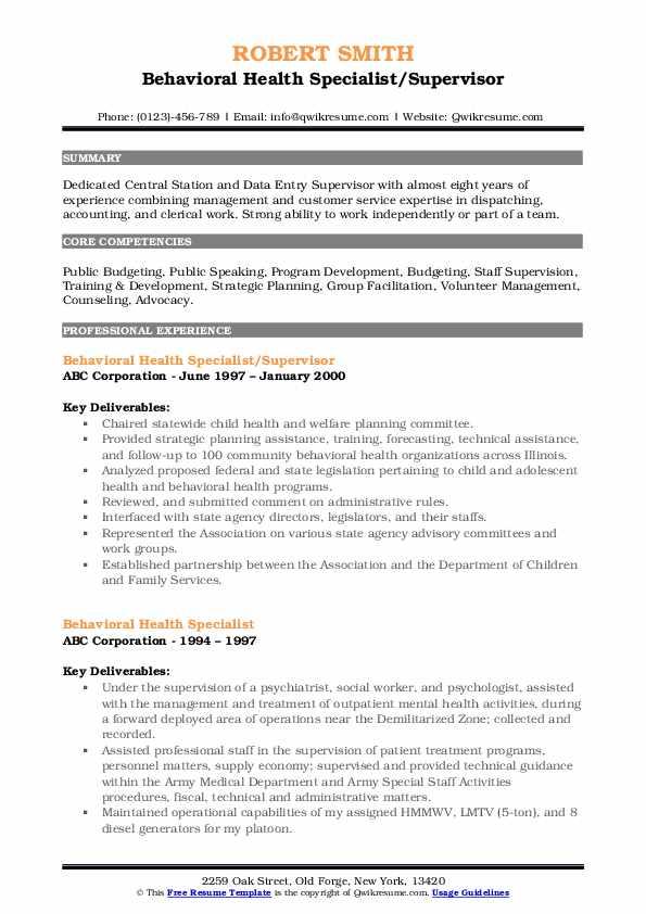 Behavioral Health Specialist/Supervisor Resume Example