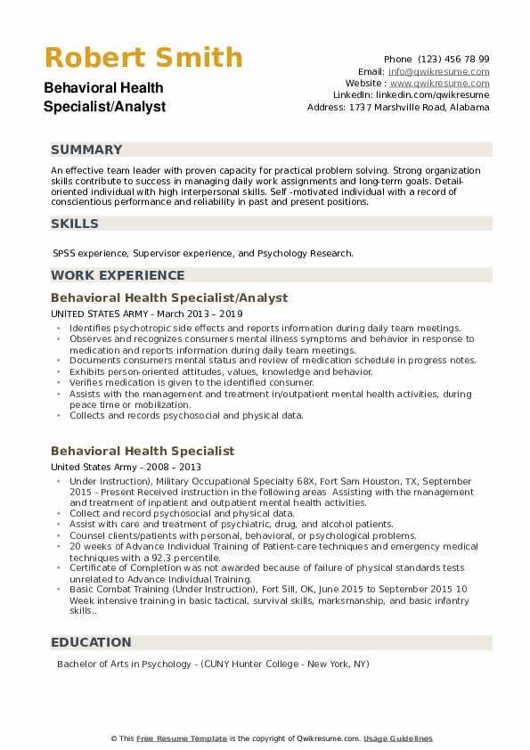 Behavioral Health Specialist/Analyst Resume Template