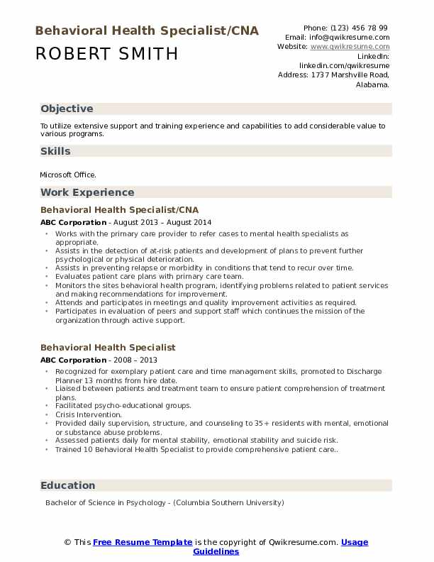 Behavioral Health Specialist/CNA Resume Template