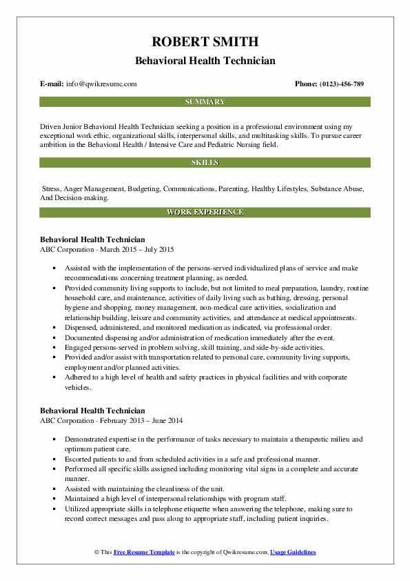 Behavioral Health Technician Resume Sample
