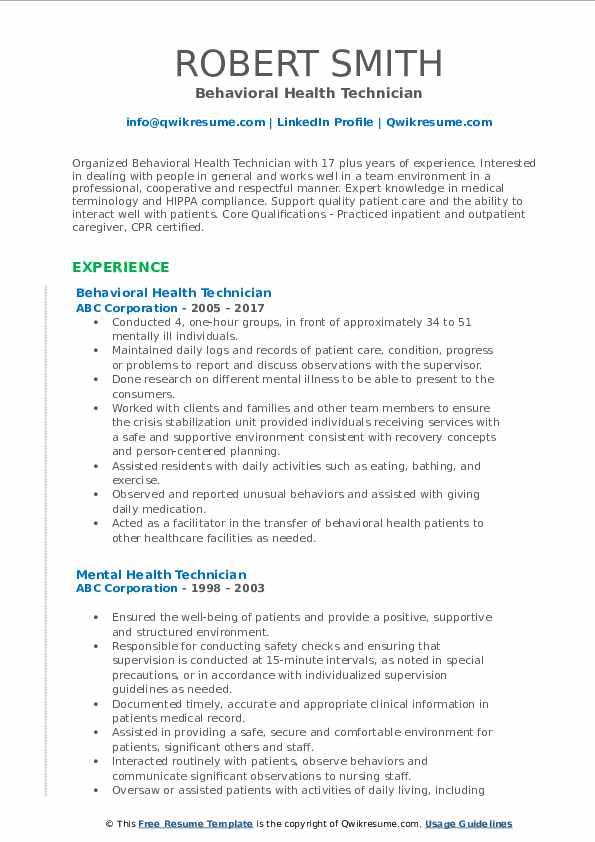 Behavioral Health Technician Resume Format