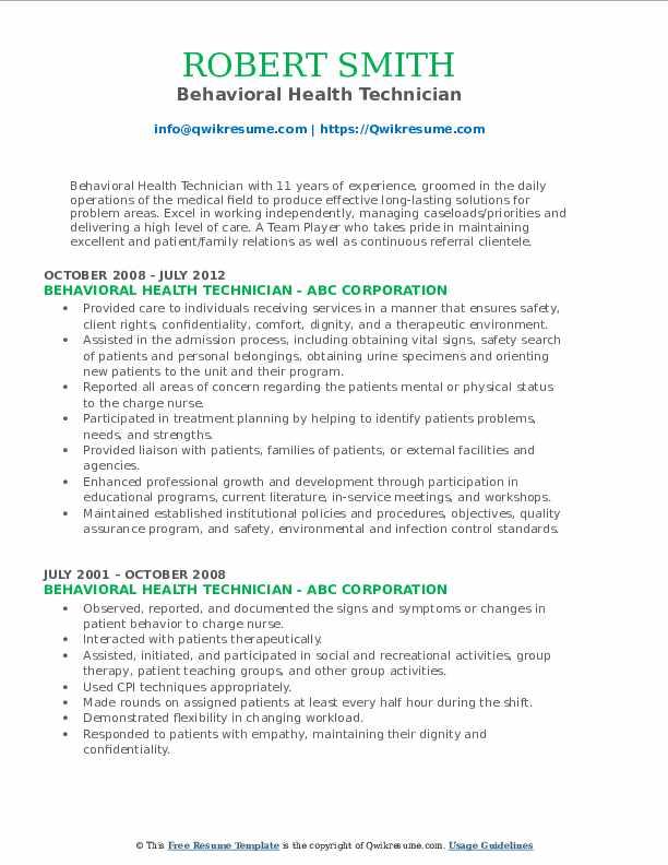 Behavioral Health Technician Resume Model