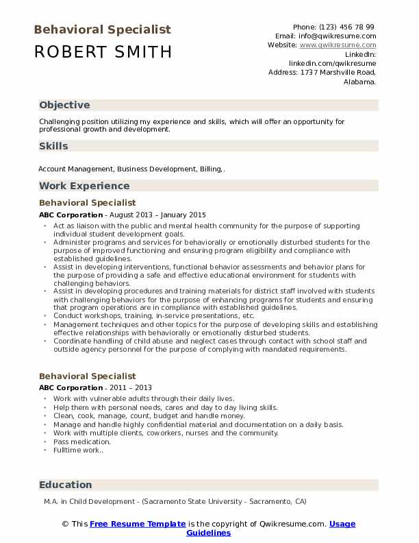 Behavioral Specialist Resume Template