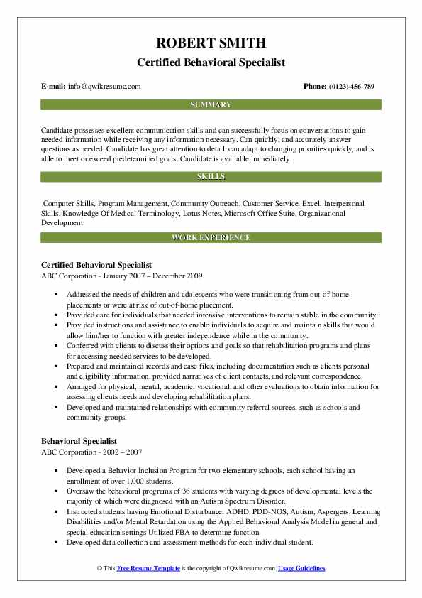Certified Behavioral Specialist Resume Template