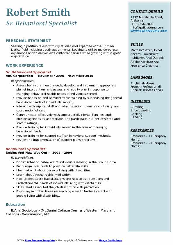 Sr. Behavioral Specialist Resume Template
