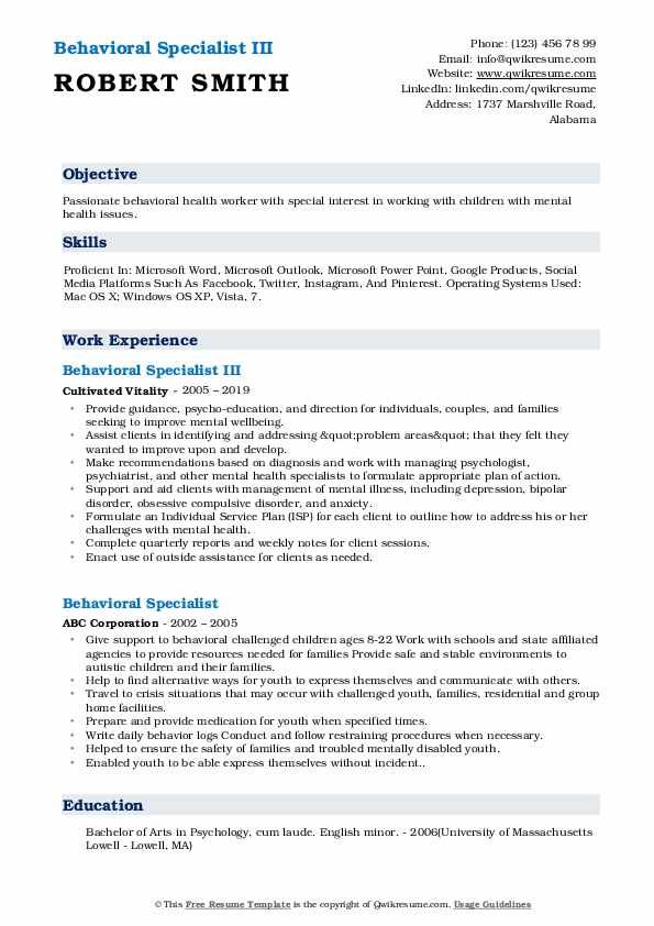 Behavioral Specialist III Resume Sample