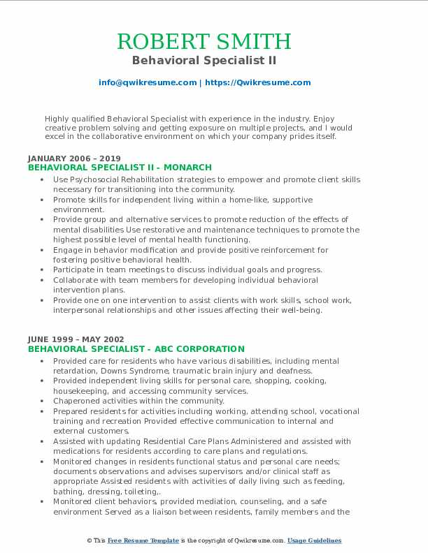 Behavioral Specialist II Resume Format