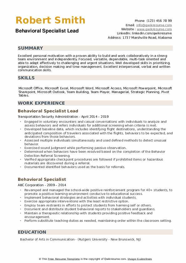 Behavioral Specialist Lead Resume Model