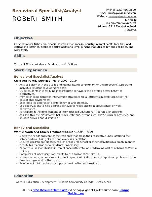 Behavioral Specialist/Analyst Resume Sample