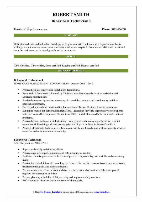 Behavioral Technician I Resume Model