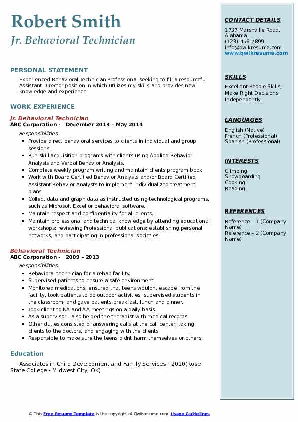 Jr. Behavioral Technician Resume Example