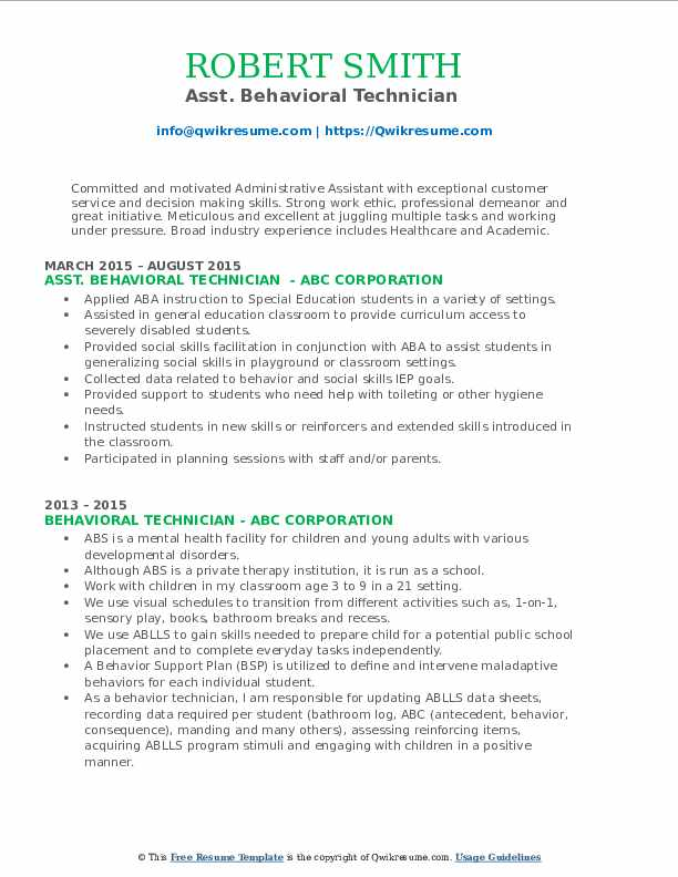 Asst. Behavioral Technician  Resume Sample