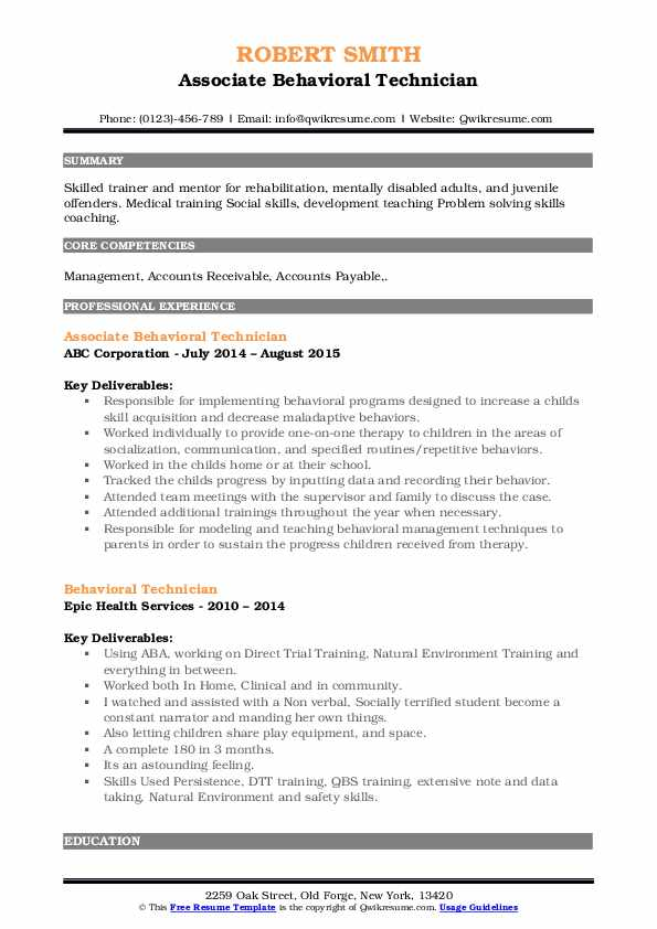 Associate Behavioral Technician Resume Example
