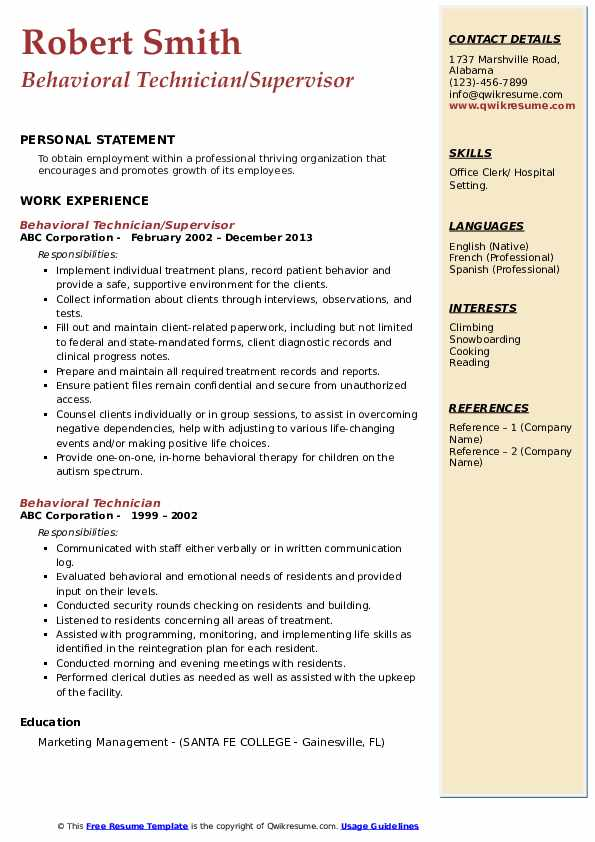 Behavioral Technician/Supervisor Resume Format