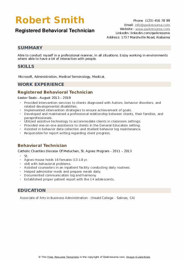 Registered Behavioral Technician Resume Template