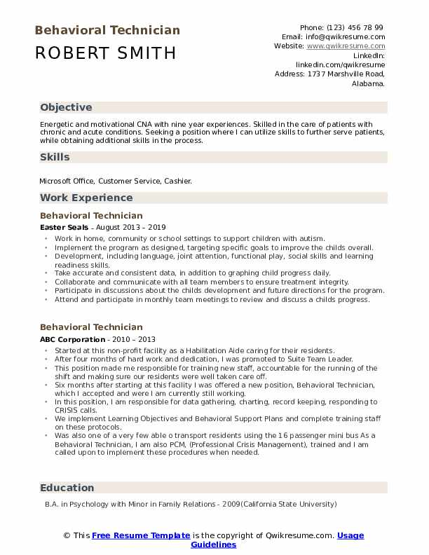 Behavioral Technician Resume example