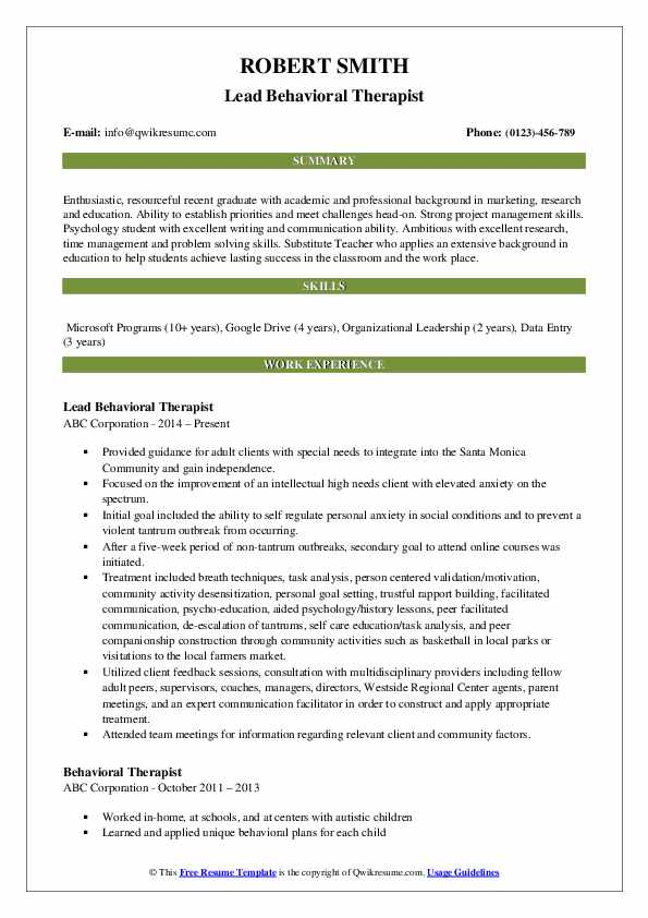 Lead Behavioral Therapist Resume Sample