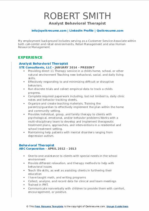 Analyst Behavioral Therapist Resume Sample