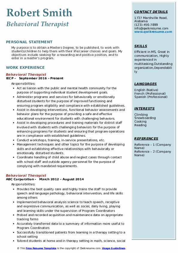 Behavioral Therapist Resume Template