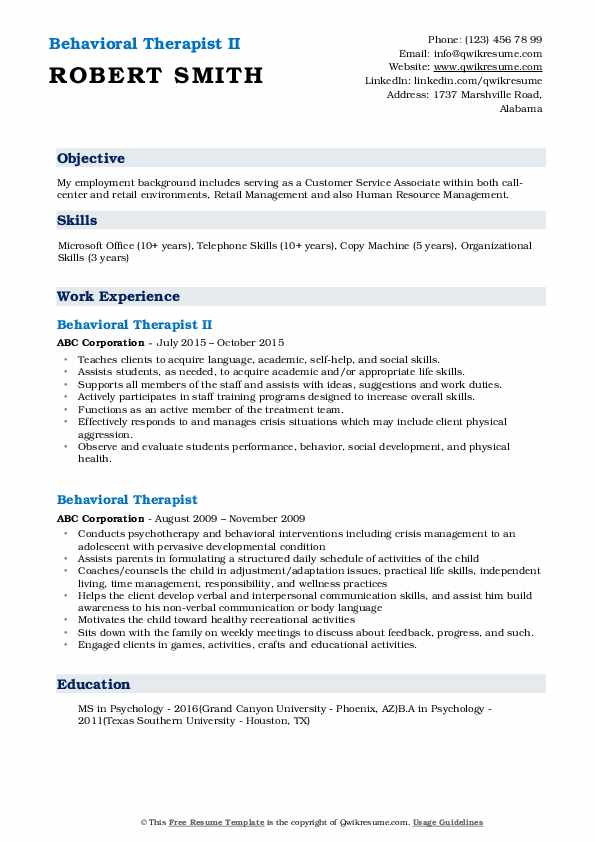 Behavioral Therapist II Resume Format