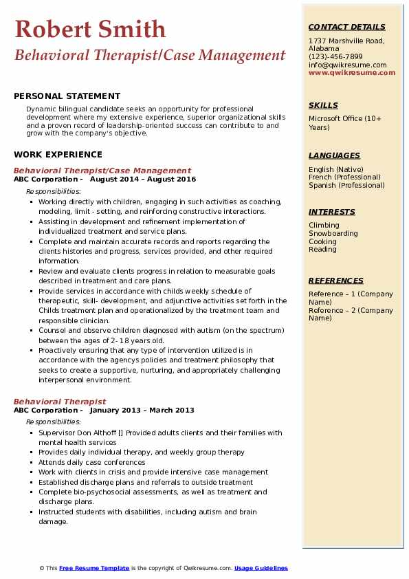Behavioral Therapist/Case Management Resume Format