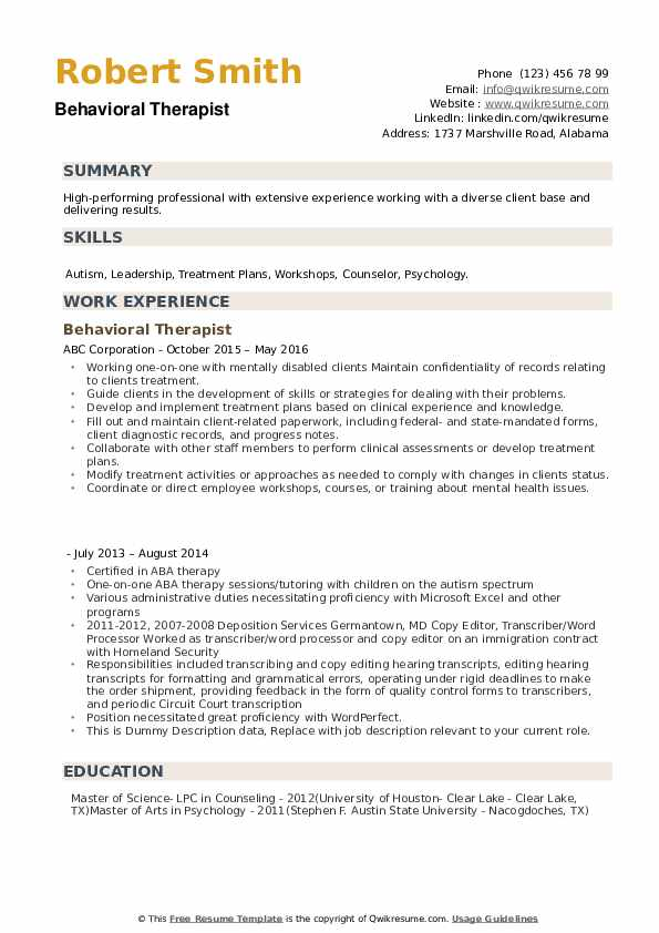 Behavioral Therapist  Resume Sample