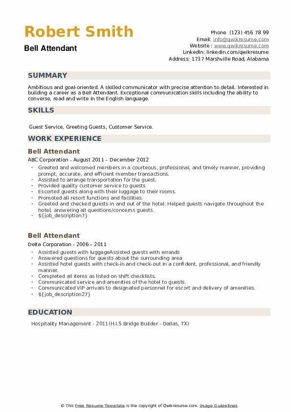 Bell Attendant Resume example
