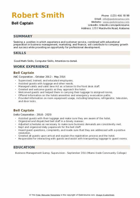 Bell Captain Resume example