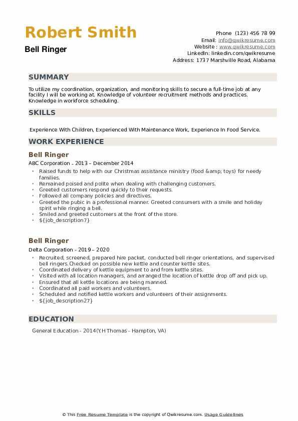 Bell Ringer Resume example