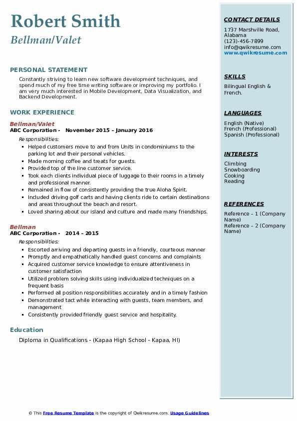 Bellman/Valet Resume Format